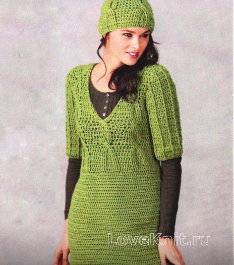 Как связать крючком длинный зеленый пуловер и шапочка