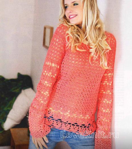 Как связать крючком коралловый пуловер