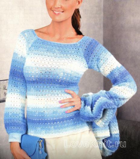 Как связать крючком меланжевый свитер ручной вязки