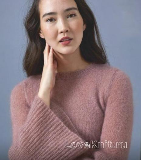 Как связать крючком пуловер с расклешенными рукавами