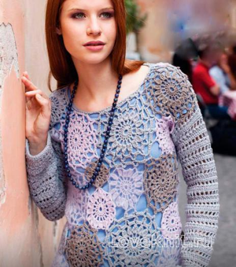 Как связать крючком пуловер с узором из цветов