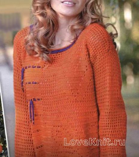 Как связать крючком свободный пуловер с сетчатым узором