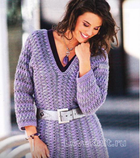 Как связать крючком связанный поперек пуловер