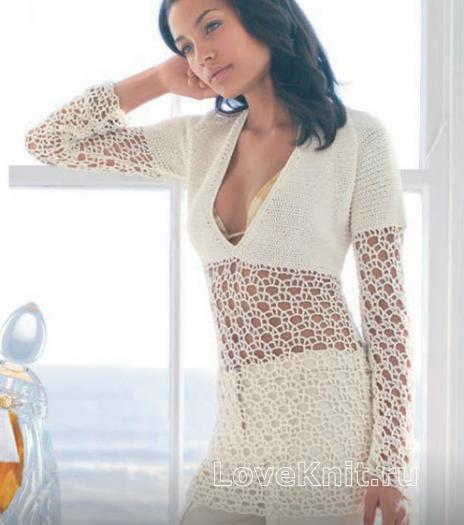Как связать крючком удлиненный полупрозрачный пуловер