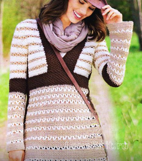 Как связать крючком удлиненный пуловер в полоску