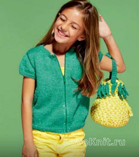 Как связать спицами детская сумочка в виде ананаса