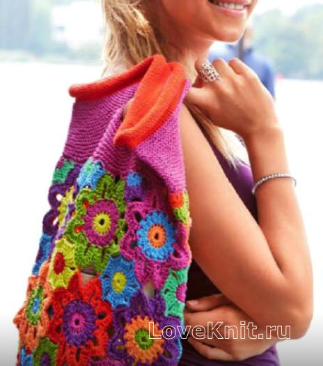Как связать спицами сумка с цветочным узором
