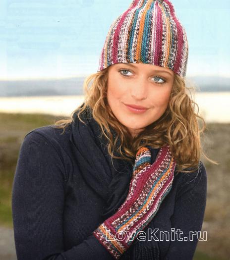Как связать крючком цветная шапочка, перчатки и варежки