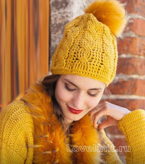 Как связать крючком шапка с косами и меховым помпоном