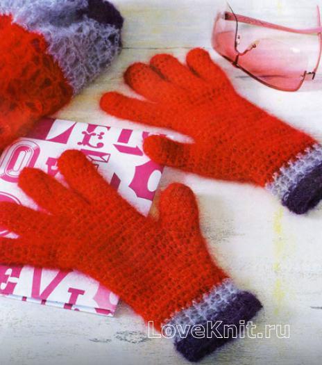 Как связать крючком трехцветная шапочка бини, хомут и перчатки