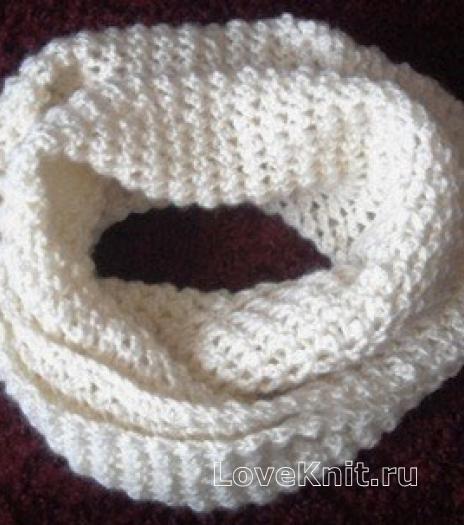 Как связать крючком белый шарф снуд