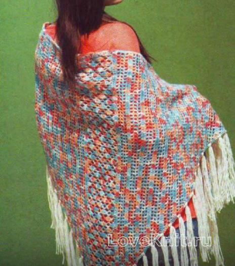 Как связать крючком цветная шаль с бахромой