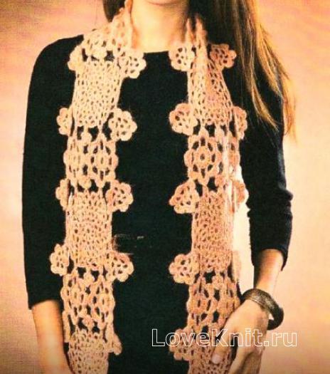 Как связать крючком длинный шарф из ажурных узоров