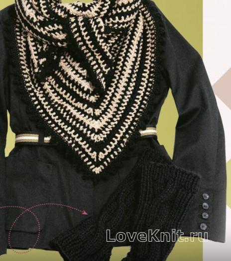 Как связать крючком двухцветная шаль-платок и митенки