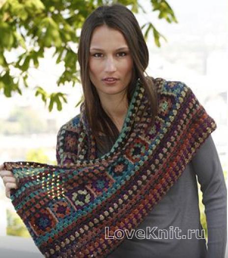 Как связать крючком шарф хомут в этническом стиле