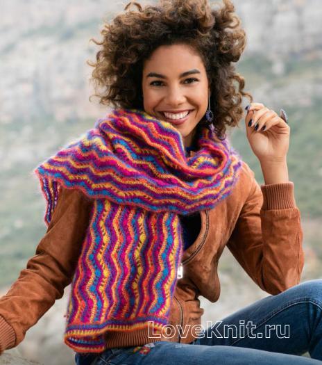 Как связать крючком шарф с разноцветным узором зигзаг