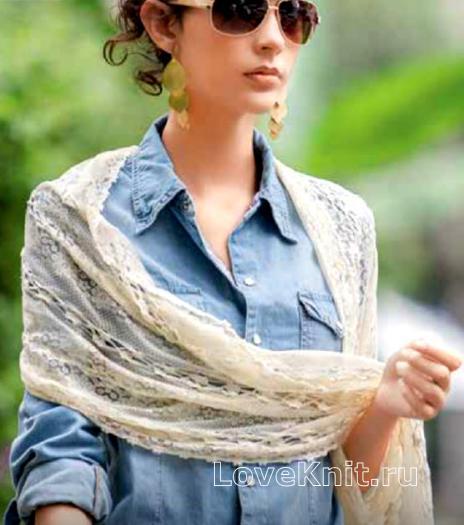Как связать крючком широкий шарф с ажурным узором