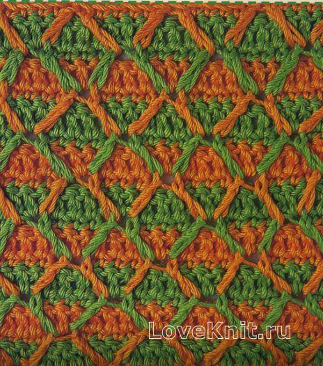 Фото узор рельефные ромбы №1268 крючком