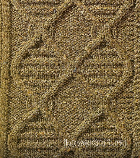 Фото узор из кос (жгутов) №1787 спицами