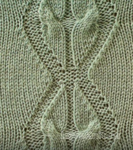 Фото узор из кос (жгутов) №1796 спицами