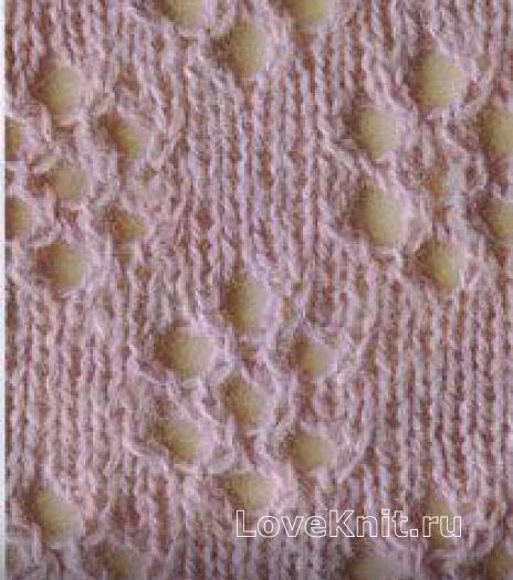 Фото узор цветы магнолии №1227  спицами