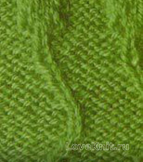 Фото узор из волн с листьями №1319 спицами