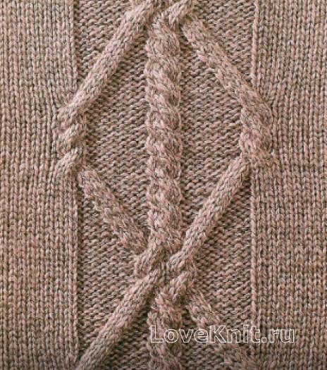 Фото узор из кос (жгутов) №1771 спицами