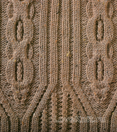 Фото узор из кос (жгутов) №1780 спицами