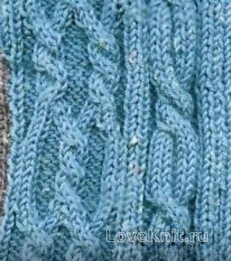 Фото узор из кос (жгутов) №1983 спицами