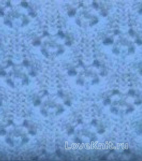 Фото узор ажурные ромбы №2028 спицами