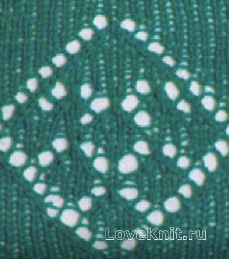 Фото узор ажурные ромбы №2581 спицами