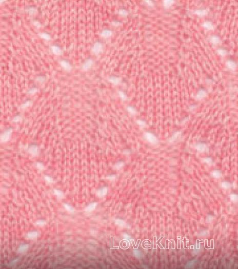 Фото узор ажурные ромбы №2588 спицами