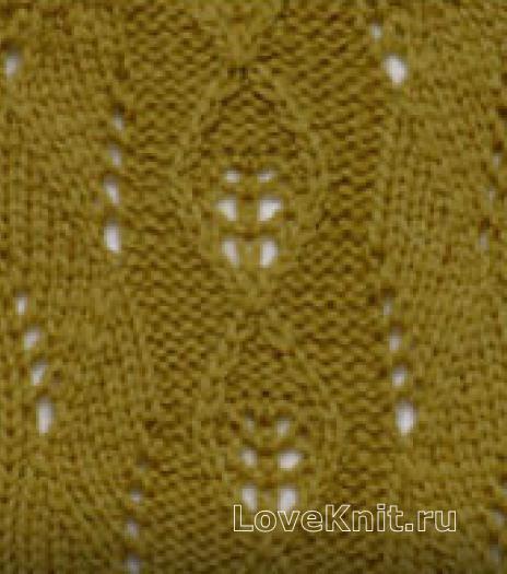 Фото узор ажурные ромбы №2710 спицами