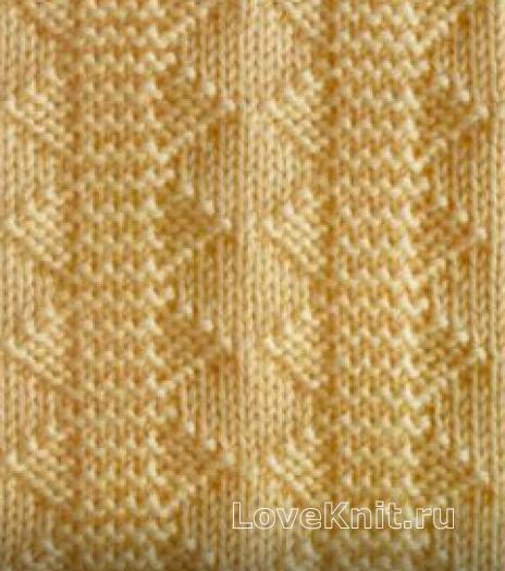 Фото узор из рельефной дорожки лицевой гладью №3979 спицами