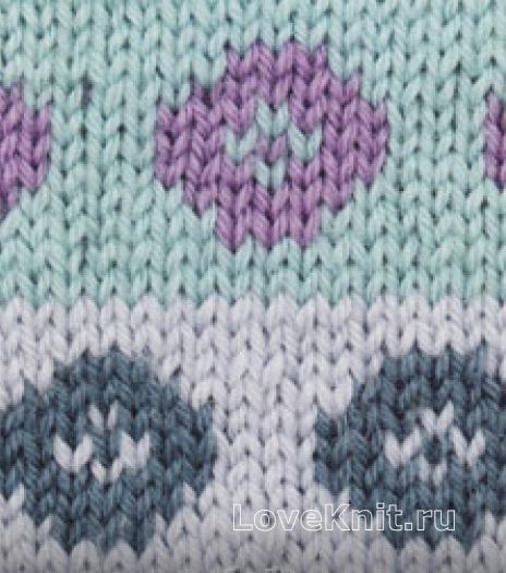 Фото цветной узор в технике интарсия №4257 спицами