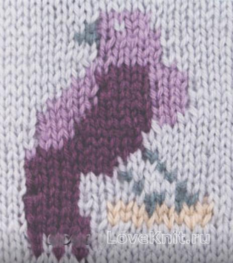 Фото цветной узор в технике интарсия №4258 спицами