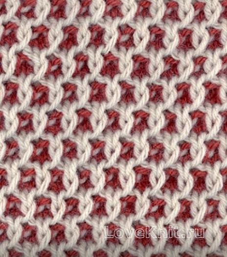 Фото узор двухцветные соты №4276 спицами
