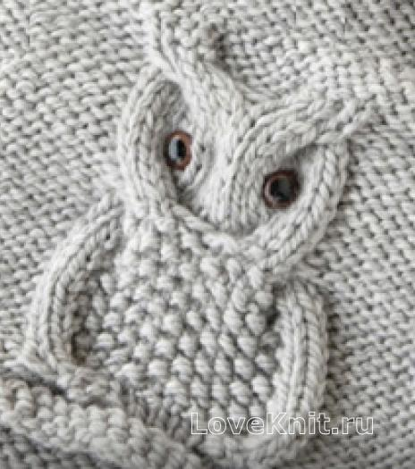 Фото узор сова №4373 спицами