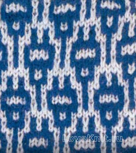 Фото узор двухцветный интарсия №5052 спицами