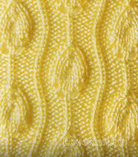 Фото узор резинка с листьями №1315 спицами