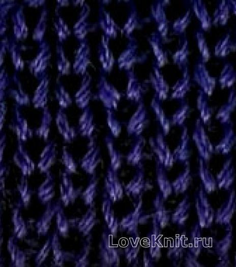 Фото резинка 1х1 из снятых коротких петель спицами