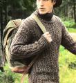 Для мужчин рельефный свитер для мужчины с воротником гольф фото к описанию