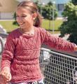 детский пуловер с ажурными узорами фото к описанию