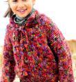 детский свободный пуловер из меланжевой пряжи фото к описанию