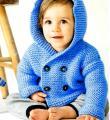 двубортная детская кофта с капюшоном фото к описанию