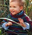 полосатый джемпер для ребенка с воротником-гольф фото к описанию