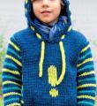теплый пуловер с полосатыми рукавами  фото к описанию