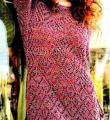 Спицами ажурное платье с длинным рукавом до колена фото к описанию