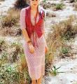 Спицами ажурное платье с узором из ромбов фото к описанию