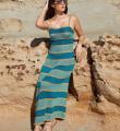 Спицами длинное полосатое платье на бретелях  фото к описанию